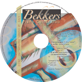 Bekkers Piano Guitar Duo Live at Duke 2010 CD album