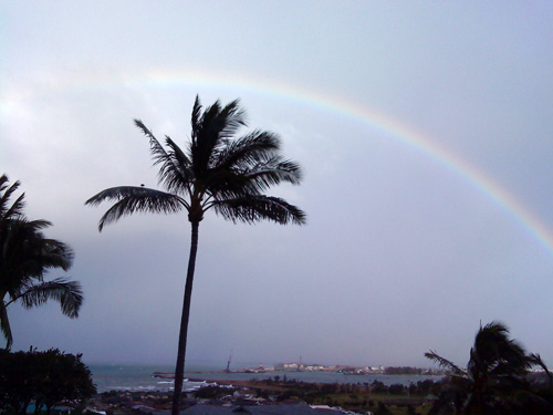View from my balcony: rainbow over Kahului Harbour in Maui