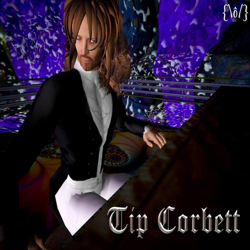 "Pianist Greg Hall, a.k.a. Tip Corbett in ""Second Life"""