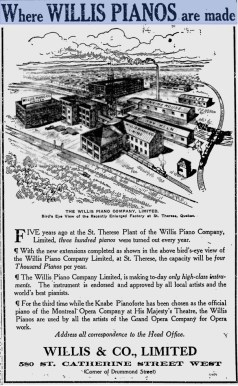 Willis piano ad stitched gazette nov 25 1912