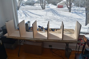 Partially assembled cabinet
