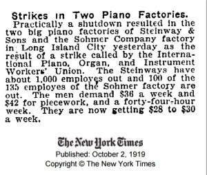 NYT Strikes in Two Piano Factories