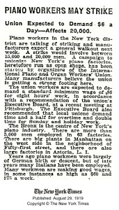 """""""Piano Workers May Strike"""" from NYT, 1919"""