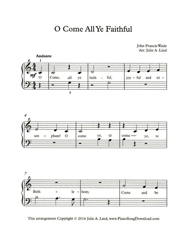 o come all ye faithful free easy christmas piano sheet music with - Free Christmas Piano Sheet Music