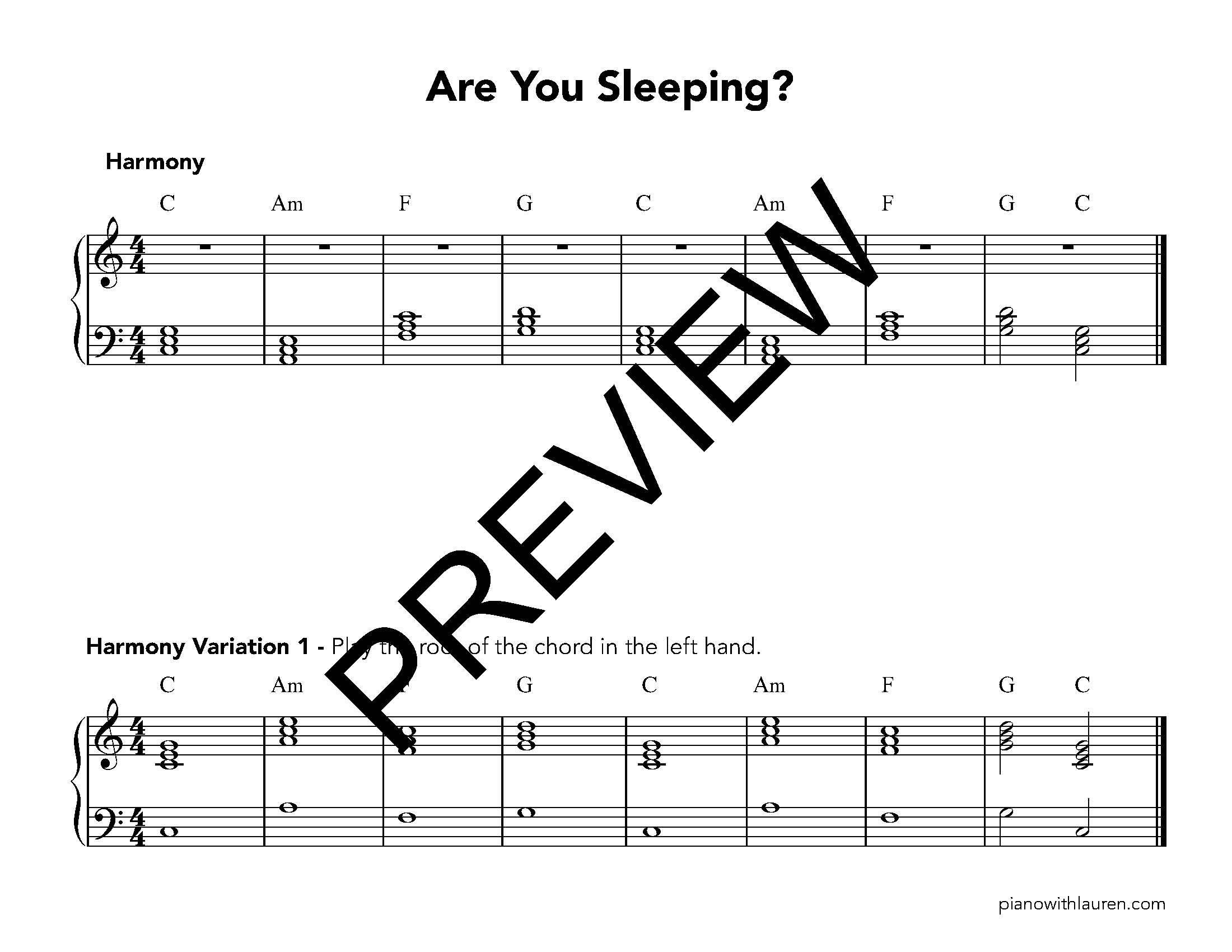 Are You Sleeping Piano Ensemble Music