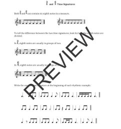 Free Rhythm Worksheets   6/8 Time Signature Worksheets [ 1024 x 789 Pixel ]