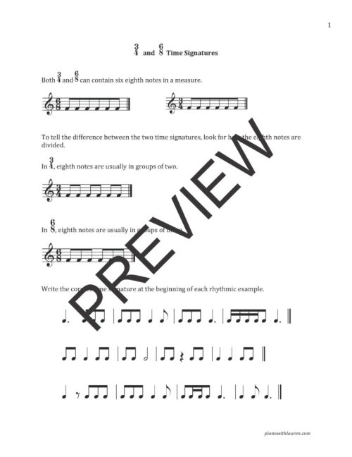 small resolution of Free Rhythm Worksheets   6/8 Time Signature Worksheets