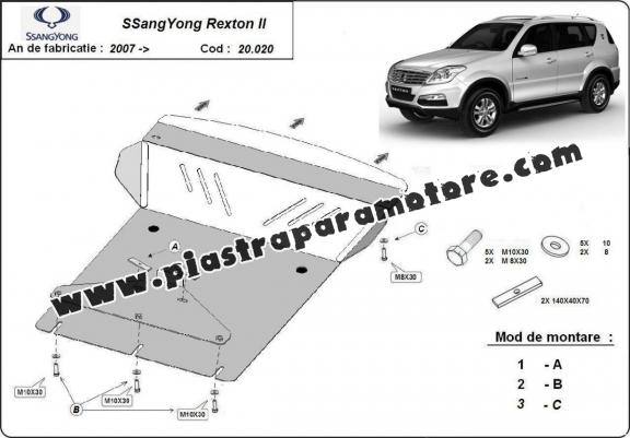 Piastra paramotore di acciaio SsangYong Rexton 2