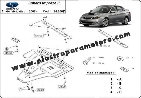 Piastra paramotore di acciaio Subaru Impreza diesel