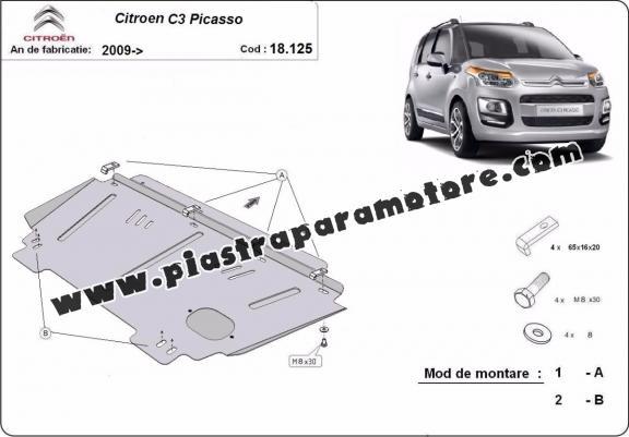 Piastra paramotore di acciaio Citroen C3