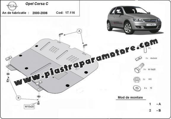 Piastra paramotore di acciaio Opel Corsa C