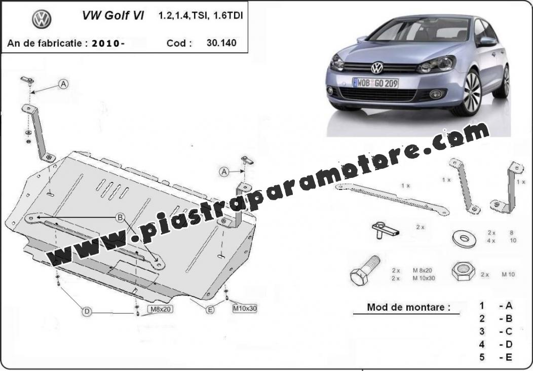 Piastra paramotore di acciaio VW Golf 6