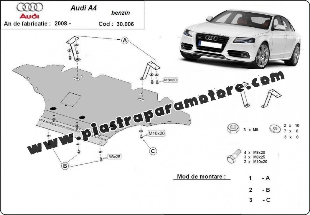Piastra paramotore di acciaio Audi A4 4, benzina