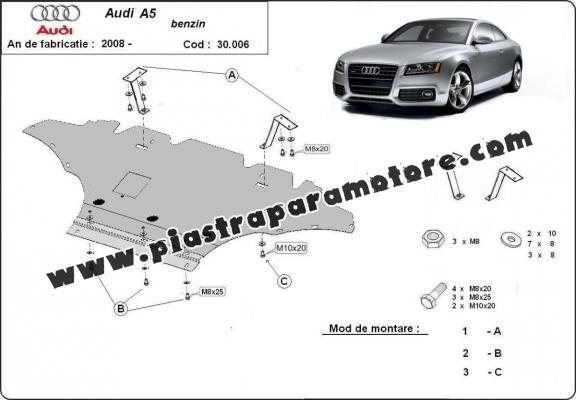 Piastra paramotore di acciaio Audi A5, benzina