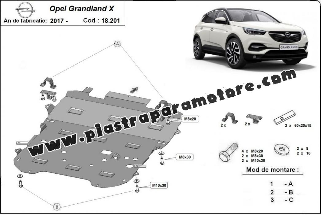 Piastra paramotore di acciaio Opel Grandland X
