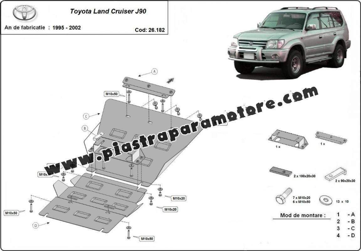 Piastra paramotore di acciaio Toyota Land Cruiser J90