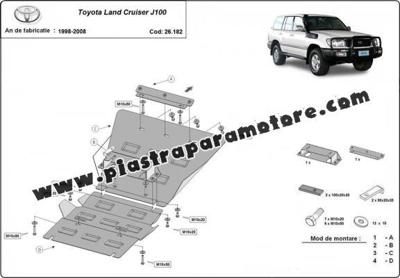 Piastra paramotore di acciaio Toyota Land Cruiser J100