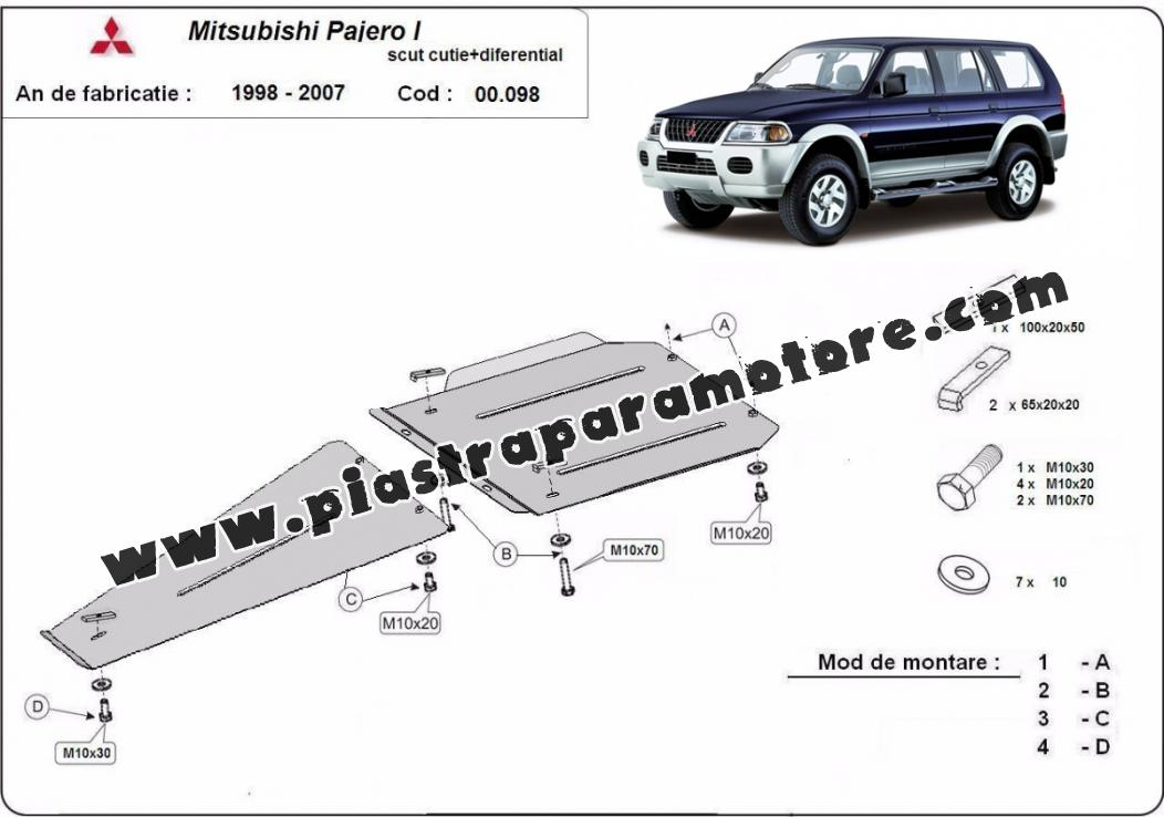 Protezione di acciaio per il differenziale Mitsubishi