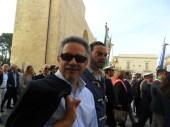 Il direttore Fernando D'Aprile e il corrispondente Nicolas Pisanello Manifestazione antiraket Lecce 2014