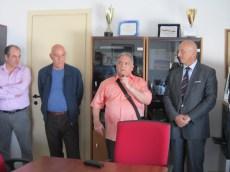 Giuseppe Scolozzi tra il sindaco Tiziano Cataldi e il presidente Upe Matino Vincenzo Marsano