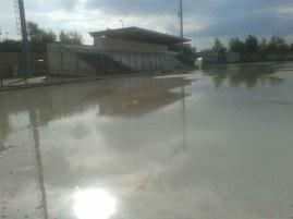 """Il campo comunale """"G. Rizzo"""" a Galatone allagato dopo le piogge dei giorni scorsi"""