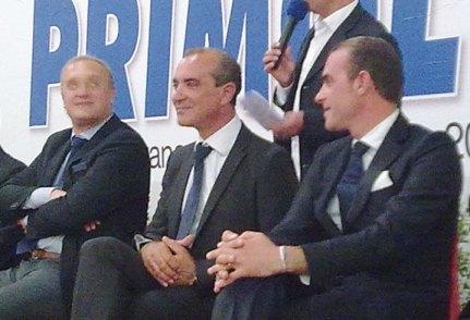 Mimino, Rocco e Fernando Primiceri insieme, nell'ottobre 2012, in occasione dell'inaugurazione del nuovo opificio olivicolo nella zona industriale di Casarano
