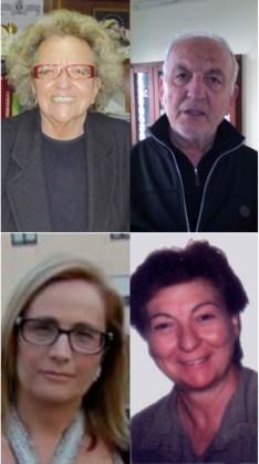 dall'alto in senso orario Agata Coppola, don Santo Tricarico, Giusy Occhineri e Rita Casalino