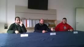 La conferenza stampa. Da sinistra Piccinno, Minerva e Coppola
