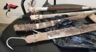 Le armi sequestrate a Scorrano
