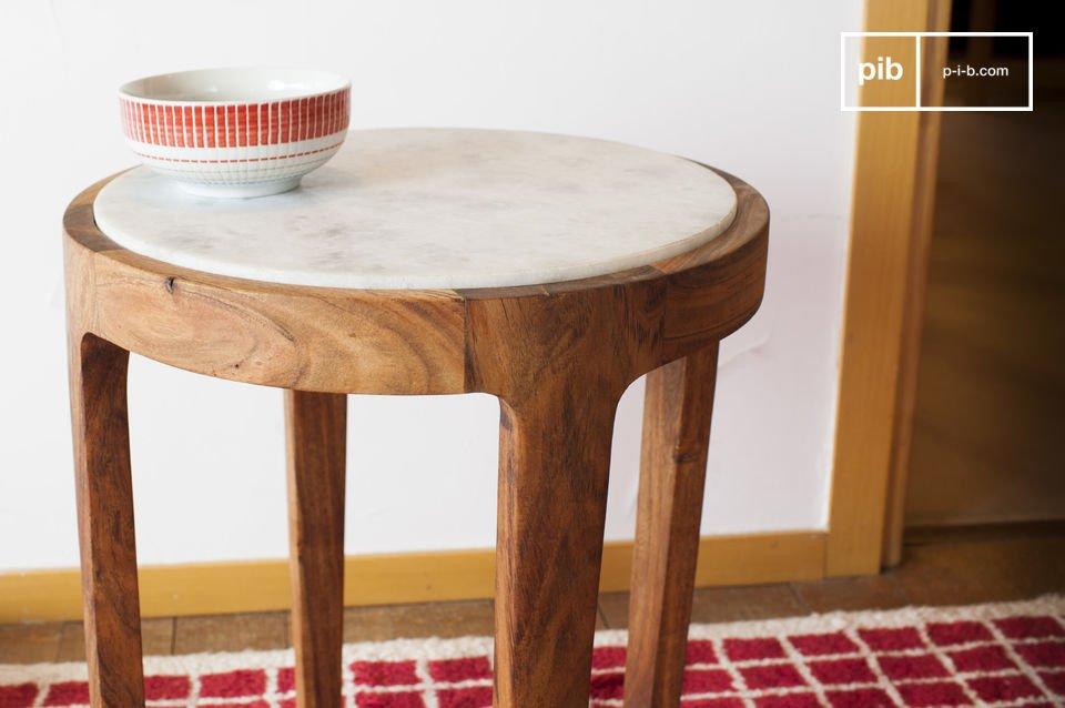 Marmori ronde bijzettafel  combinatie van wit marmer en