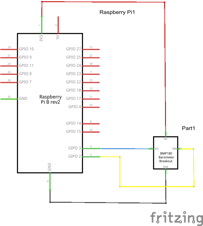 Pi and BMP180 schematic