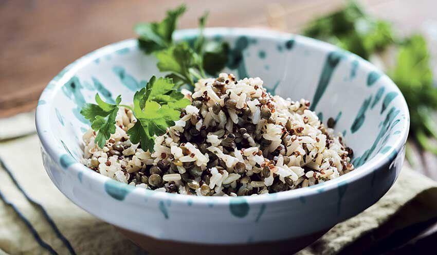 riz complet lentilles vertes quinoa rouge