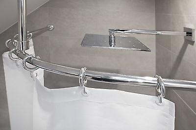aluminium barre en arc sans obstacle de rideau douche ovale chrome blanc