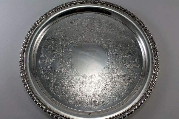 Vintage Silver Plate Ornate Floral Tray Serving