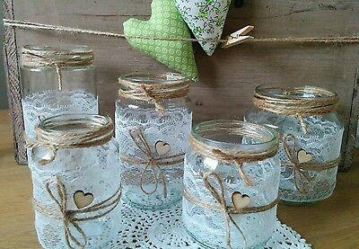 20 WINDLICHTER Vasen Hochzeit Vintage Shabby Spitze Deko Hochzeitsdeko   EUR 5900  PicClick DE