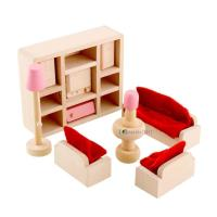 Dolls House Furniture Wooden Set People Dolls Toys For