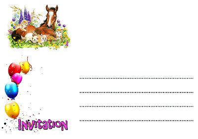 5 12 ou 14 cartes invitation anniversaire cheval chat ref 451