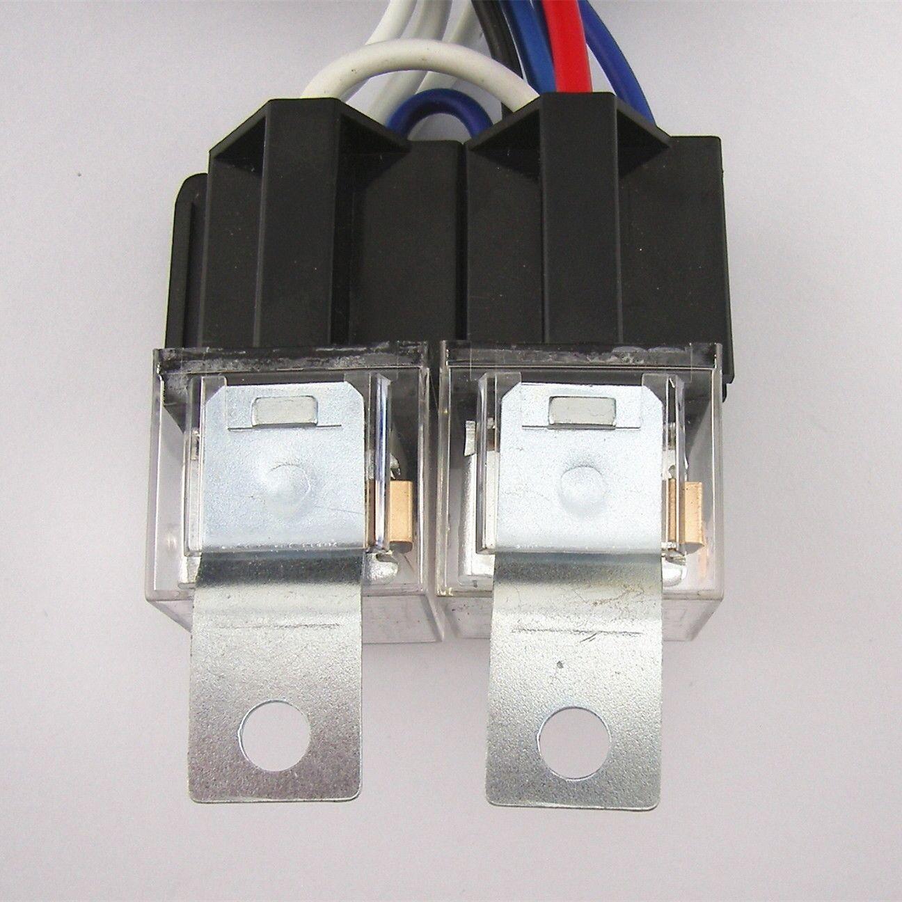 hight resolution of 4 headlight relay wiring harness h4 headlamp light bulb ceramic socket plugs set 2 2 of 12