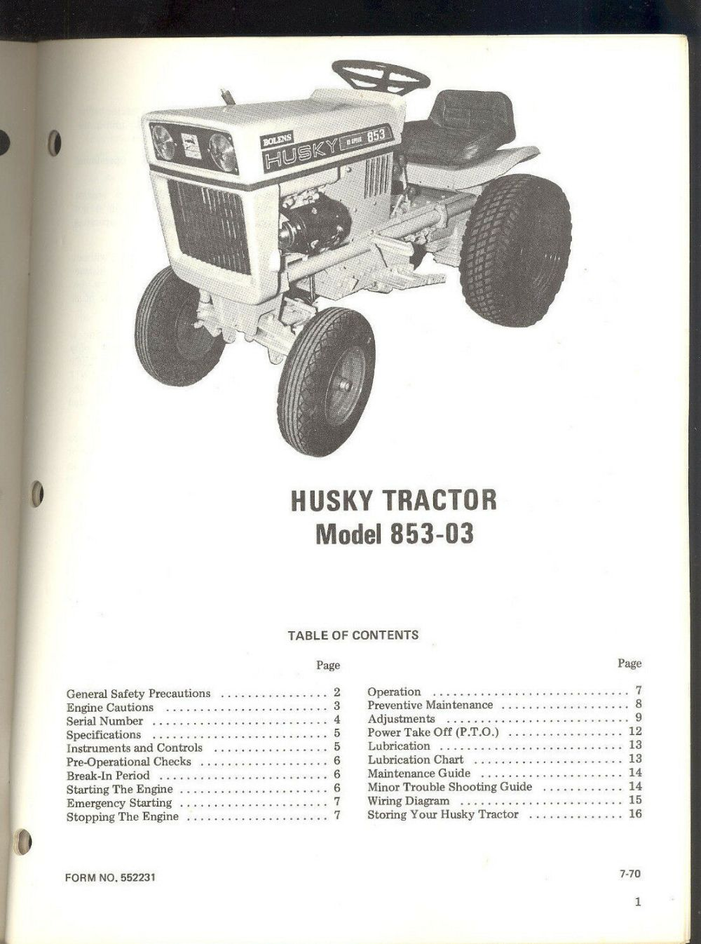 medium resolution of 1 of 3 1970 bolens husky tractor model 853 03 owners operators maintenance manual