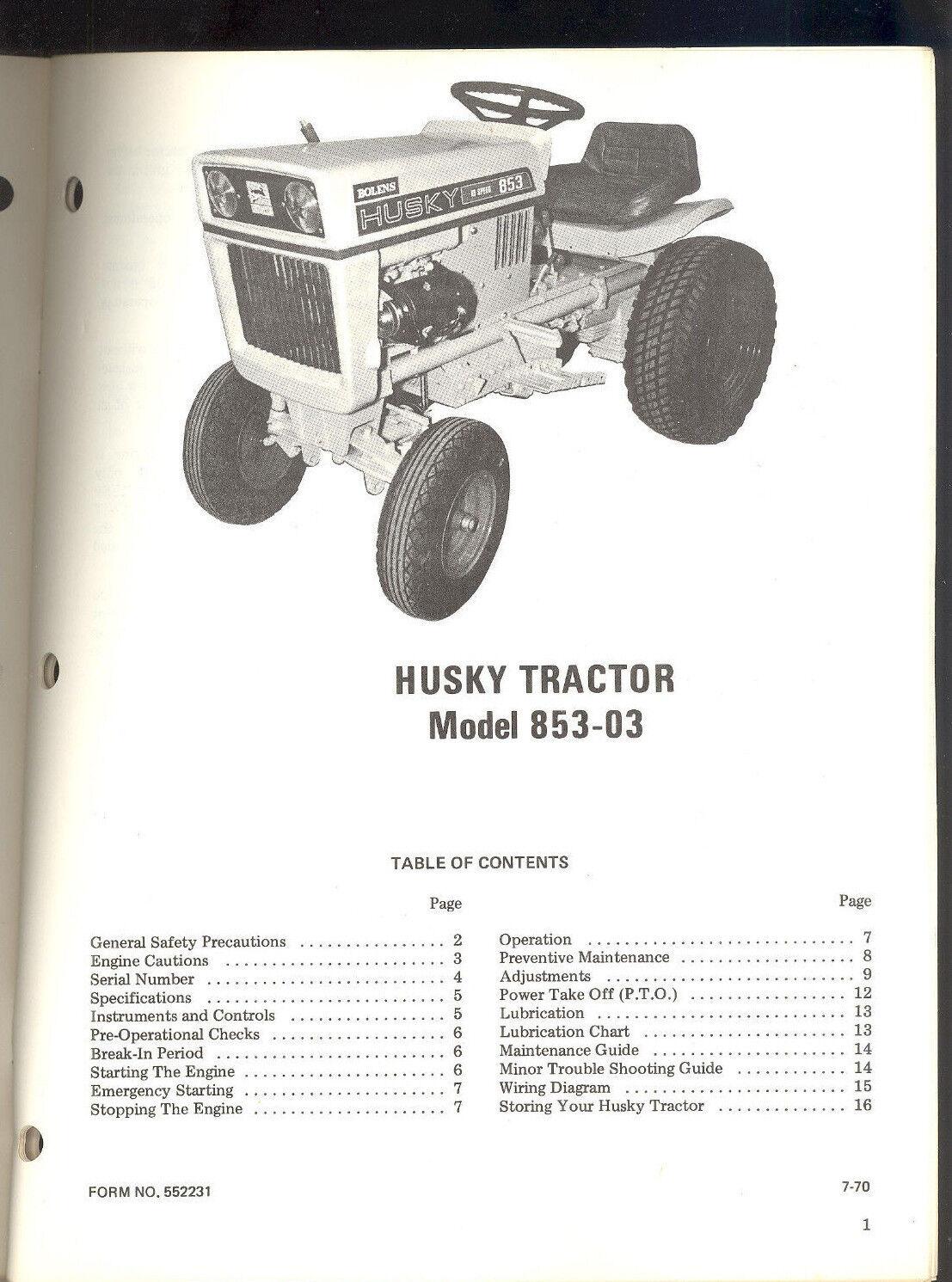 hight resolution of 1 of 3 1970 bolens husky tractor model 853 03 owners operators maintenance manual