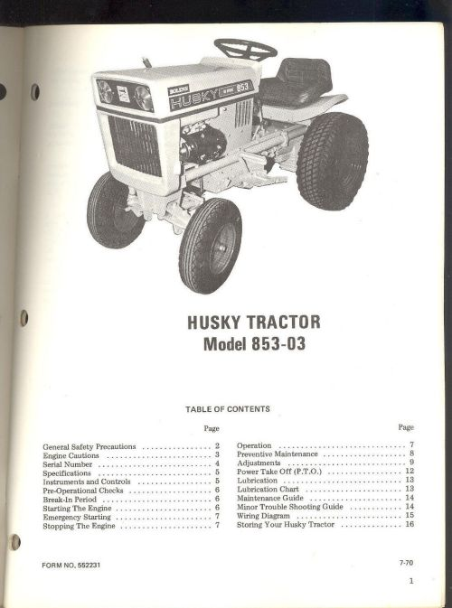 small resolution of 1 of 3 1970 bolens husky tractor model 853 03 owners operators maintenance manual