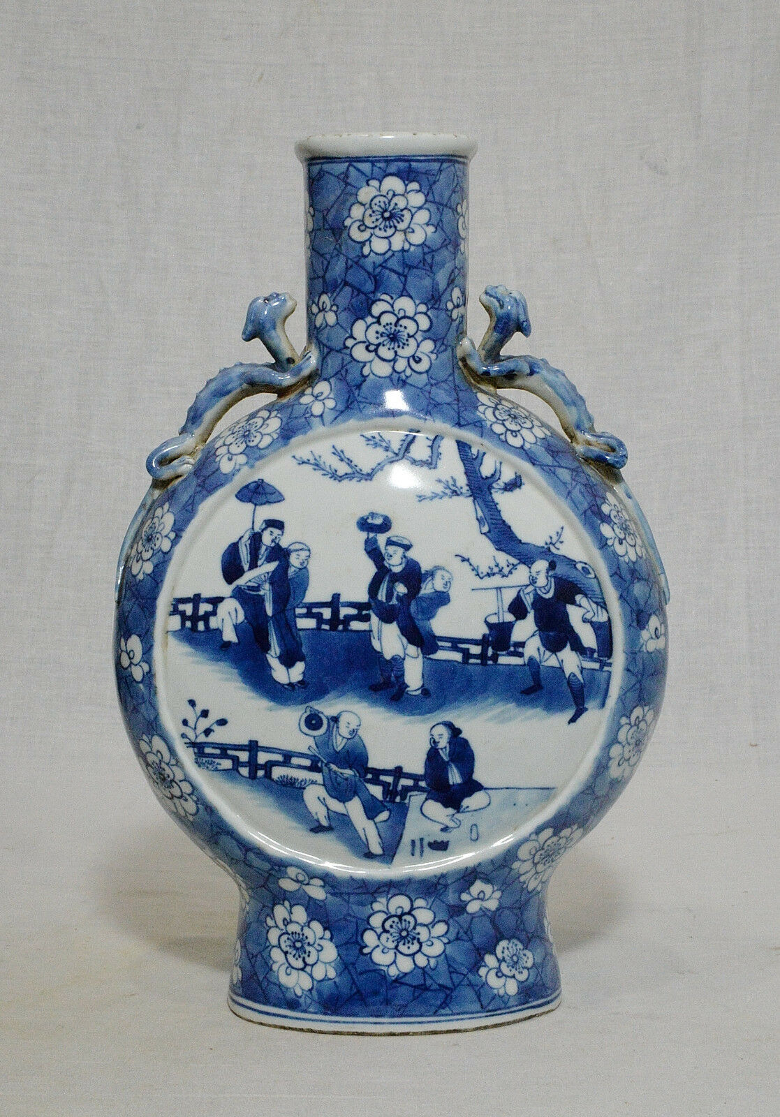 CHINESE BLUE and White Porcelain Moon Flat Vase With Mark