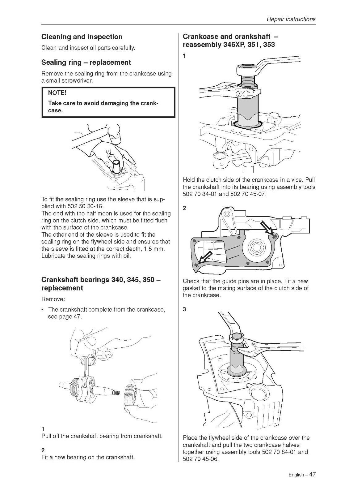 HUSQVARNA CHAINSAW WORKSHOP service manual 340 / 345