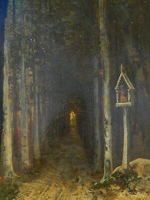 19eme siecle chemin foret tableau peinture huile sur panneau paysage xix