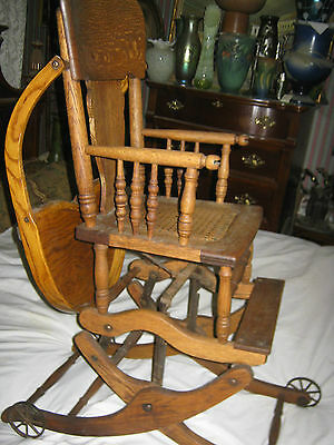 antique high chairs dining captain primitive wicker baby chair rocker stroller cast iron 7 of 12 toy wheels