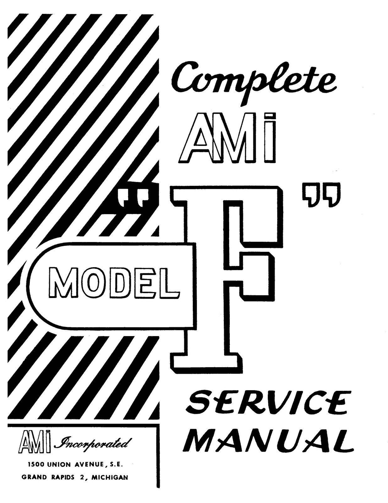 AMI ROWE JUKEBOX Operation Repair Service Manual