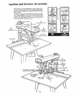 SEARS CRAFTSMAN 113.197602 10 inch Radial Arm Saw Op