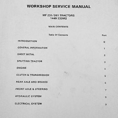 MASSEY FERGUSON 231 261 Tractor Service Repair Shop Manual
