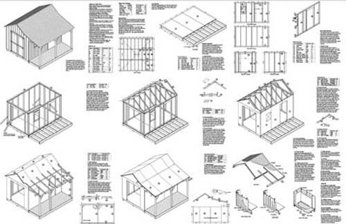 12' X 12' Cottage / Cabin Shed Plans / Blueprints 81212