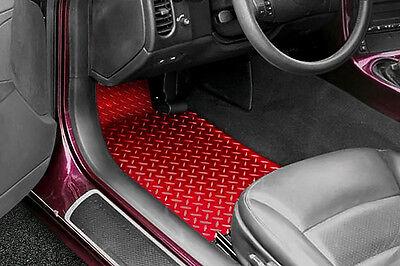 tapis de sol pour voiture aluminium rouge look racing compatible tous vehicules